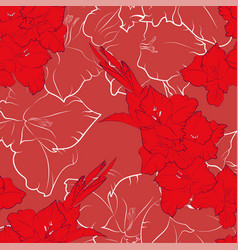 flower seamless pattern from red gladiolus vector image vector image
