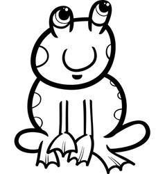 Frog cartoon coloring page vector