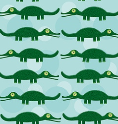 Funny green crocodile Seamless pattern with cute vector image