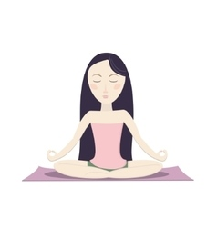 Girl sitting in the lotus pose and meditating vector