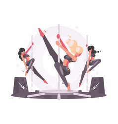 girls dancing on pylon vector image