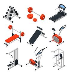 Gym equipment isometric set vector