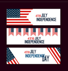 Happy independence day flag of usa with text vector