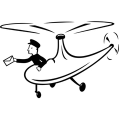 Helicopter delivers mail vector