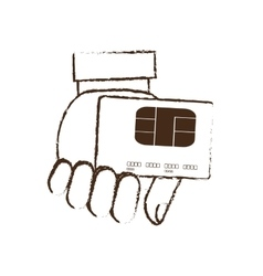 Holding credit card bank sketch vector