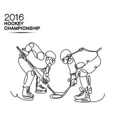Ice hockey 2016 championship concept art one line vector