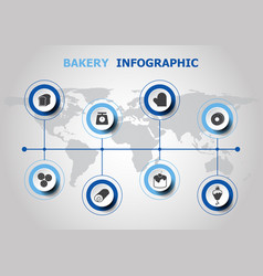 Infographic design with bakery icons vector