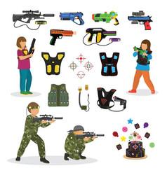 laser tag fun game set in flat style gun vector image