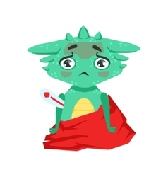Little anime style baby dragon with fever feeling vector