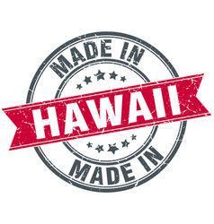 Made in hawaii red round vintage stamp vector