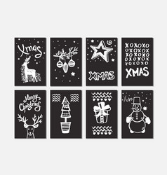 merry christmas collection handdrawn cards vector image vector image
