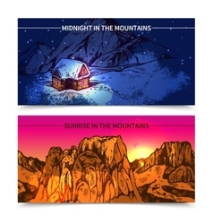 Mountains Midnight And Sunrise Banners vector image