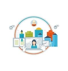 Online education teamwork communication vector