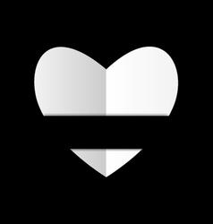 Paper white heart on black background vector