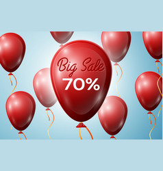 Red balloons with an inscription big sale 70 vector