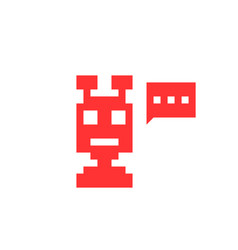 Red pixel chatbot icon vector