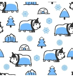 Seamless pattern with cute doodle musk-ox vector