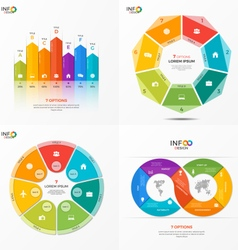 set of infographic templates with 7 options vector image