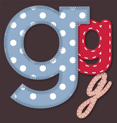 Set of stitched font - Letter G vector image vector image