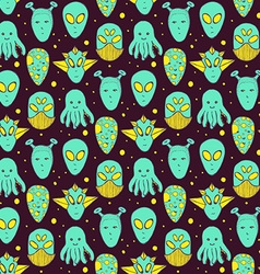 Sketch aliens faces pattern vector image vector image