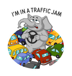 Standing in a traffic jam steering wheel in hands vector