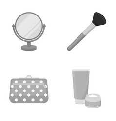 Table mirror cosmetic bag face brush body cream vector
