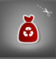Trash bag icon red icon with for applique vector