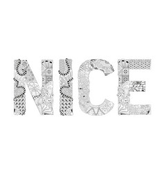 word nice for coloring decorative vector image vector image