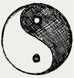 Ying yang sketch symbol vector image vector image