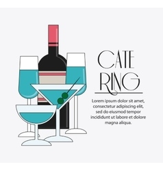 Bottle cocktail drink catering icon vector