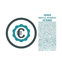 Euro award stamp rounded icon with 1000 bonus vector
