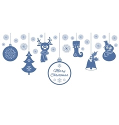 Blue Christmas pendants a bell with holly ball vector image