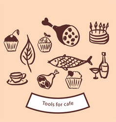 tools for cafe vector image