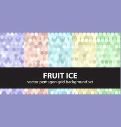 Pentagon pattern set fruit ice seamless vector