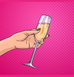Female hand holding glass champagne wine pop art vector