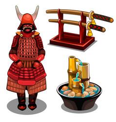 Samurai katana on stand and decorative fountain vector