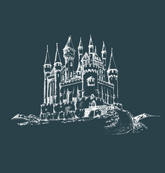 Old castle gothic fortress vector