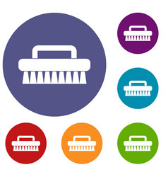 Cleaning brush icons set vector