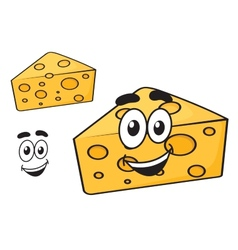 Smiling happy cartoon wedge of cheese vector