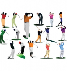 Sixteen golfers vector