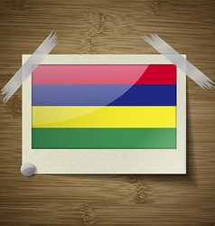Flags Mauritius at frame on wooden texture vector image