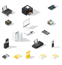 Office detailed isometric icon set vector