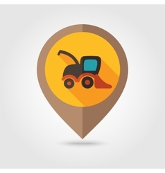 Combine harvester flat mapping pin icon vector