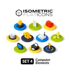 Isometric flat icons set 4 vector image
