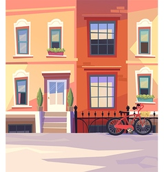 Sunny city street with a city bicycle vector