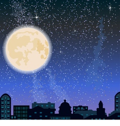 City skyline at night buildings and big moon vector