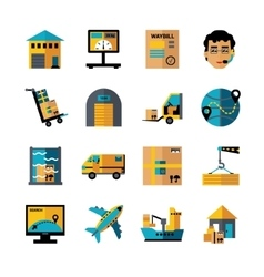 Logistics color icons set vector