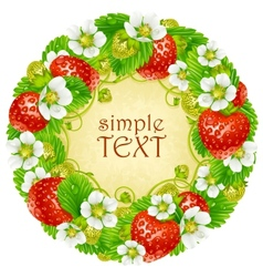 Strawberry circle frame red berry vector