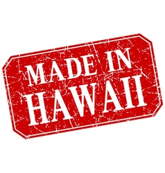 Made in hawaii red square grunge stamp vector