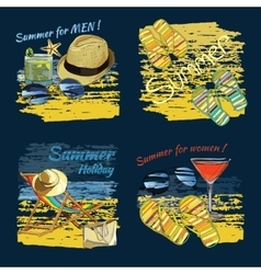 Set background summer with lettering texts vector